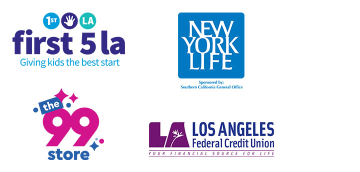 Logos for First 5 LA, New York Life, The 99 Cent Store, Los Angeles Federal Credit Union